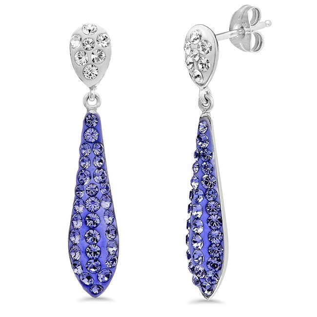 Amanda Rose Sterling Silver Dangle Earrings made with Austrian Crystals