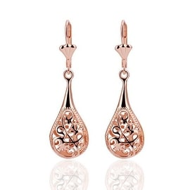 Vienna Jewelry 18K Rose Gold Laser Cut Drop Down Earrings