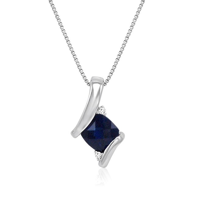 Amanda Rose Sterling Silver Created Sapphire and Diamond Pendant-Necklace (1ct tgw)