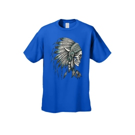 Men's T-Shirt Native Chief Skull Graphic Tee Indian American Feathers Bones