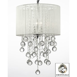 Crystal Chandelier Lighting With Large White Shade & Crystal Balls H24 W15