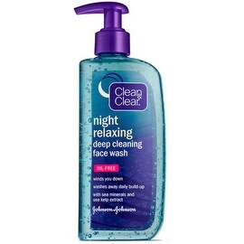 Clean & Clear Night Relaxing Deep Cleaning Face Wash Oil Free, 8 oz