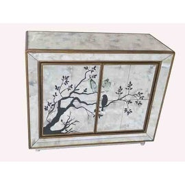 Mirrored Chest of 2 Doors with Bird Outline