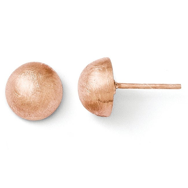 Italian Sterling Silver Rose Gold-plated Scratch Finish 8-9m Button Earrings