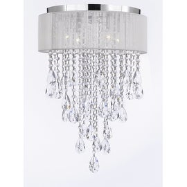 Flush Mount 4 Light Chrome & White Shade Empress Crystal Chandelier Lighting