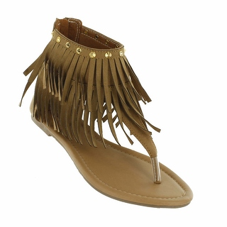 Red Circle Footwear Women's 'Antigua' Fringe Sandal