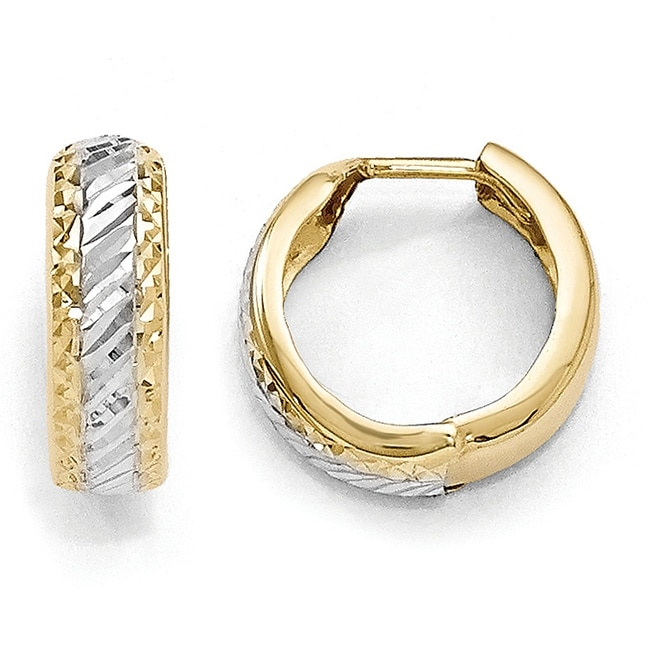 10k Gold with White Rhodium-plated Polished and Diamond-cut Hoop Earrings