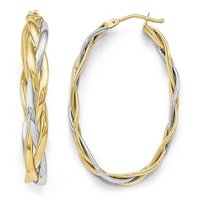 Italian 10k Two-Tone Gold Polished Braided Hoop Earrings