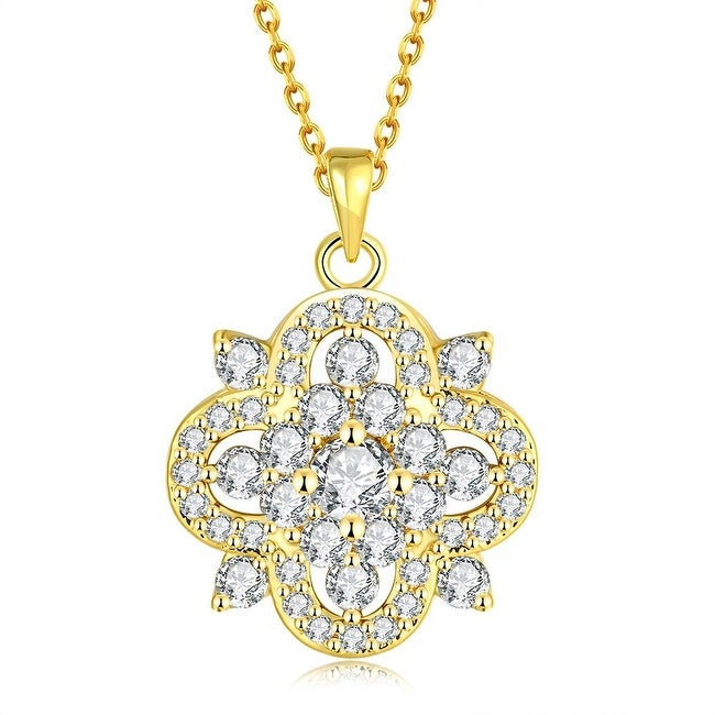 Gold Plated Spade of Crystals Bridal Necklace