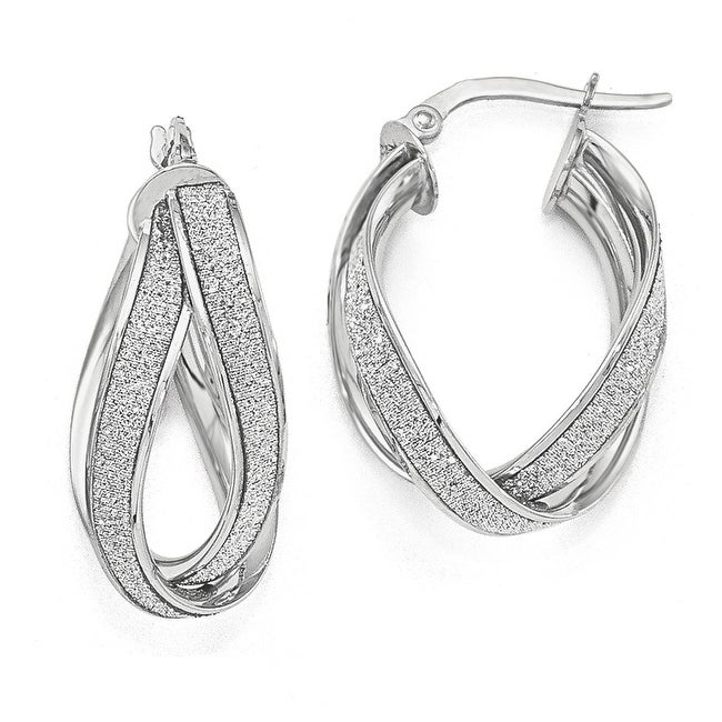 Italian 14k White Gold Glimmer Infused Double Twist Earrings