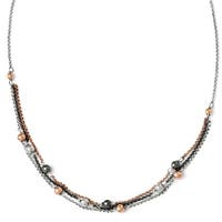 Italian Sterling Silver Italian, Ruthenium & Rose Gold-plated Diamond Cut Necklace - 18 inches