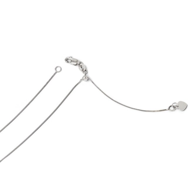 Italian 14k White Gold Adjustable .7mm Baby Box Chain - 22 inches