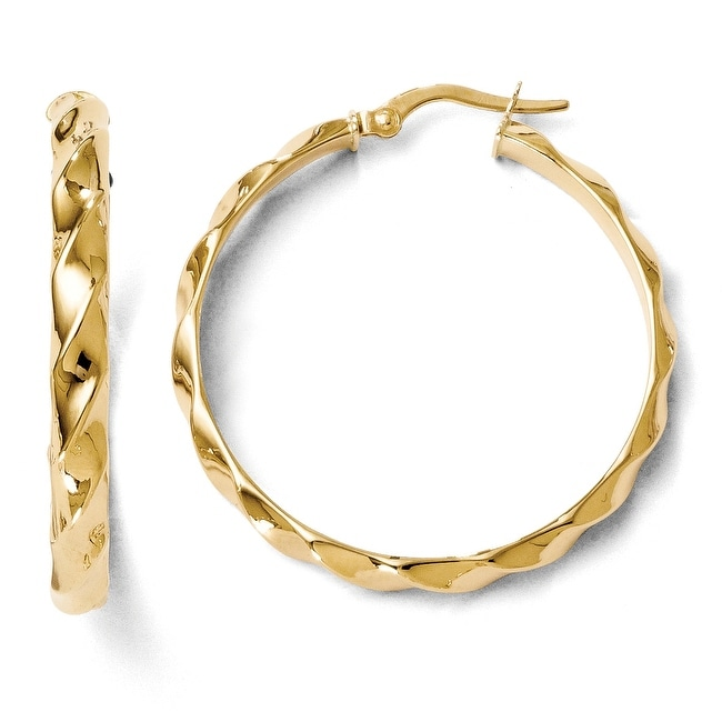 Italian 14k Gold Polished and Twisted Hoop Earrings