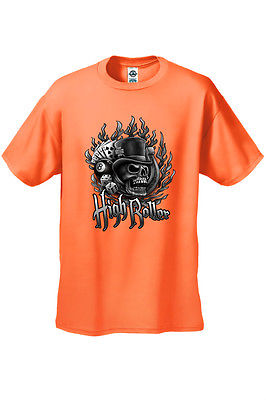 MEN'S BIKER T-SHIRT High Roller SKULL IN TOP HAT DICE ROYAL FLUSH S-2X 3X 4X 5X