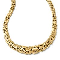 Italian 14k Gold Polished Fancy Link Necklace - 17 inches