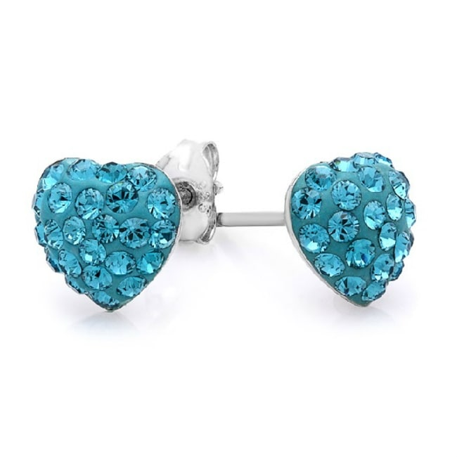 Amanda Rose Sterling Silver Heart Shape Stud Earrings made with Austrian Crystals