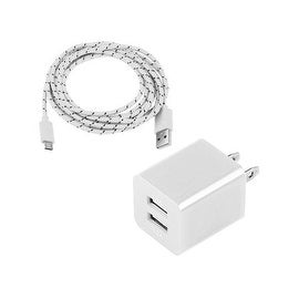 2A Wall Charger With Two Usb Ports AC Travel Adaptor With Micro USB Charge & Data Sync Braided Cable For Samsung Galaxy S6 Edge