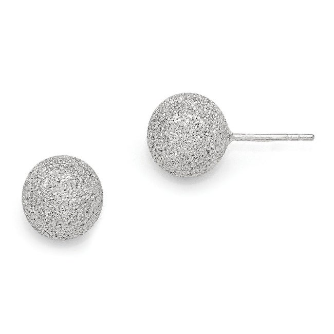 Italian Sterling Silver Radiant Essence Rhodium-plated Ball Post Earrings