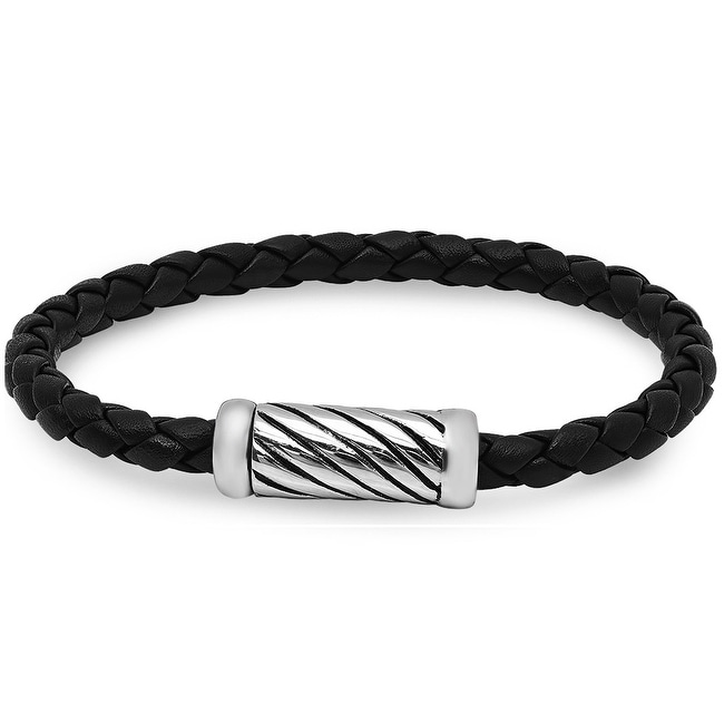 Oxford Ivy Braided Black Leather Bracelet with Magnetic Stainless Steel Clasp ( 8 3/4 inches)