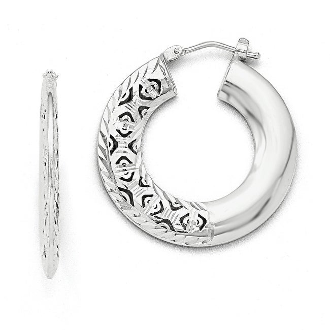 Italian 14k White Gold Polished Lazer-cut Medium Round Hinged Hoop Earrings