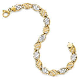 Italian 14k Two-Tone Gold Polished & Brushed Link Bracelet - 7.5 inches