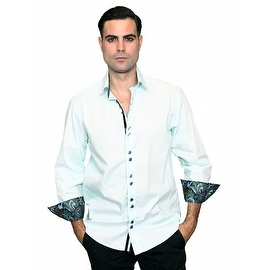 IN-41 Men's Manzini Solid Aqua Cotton Shirt with Paisley Trim