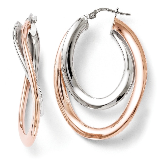 Italian Sterling Silver Rose Gold-plated Double Oval Hoop Earrings