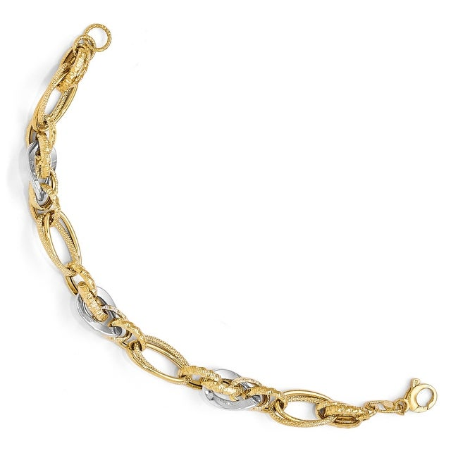 Italian 14k Two-Tone Gold Polished & Textured Fancy Link Bracelet - 7.5 inches