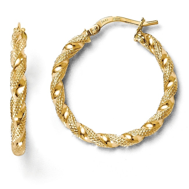 Italian 14k Gold Polished and Textured Twisted Hoop Earrings