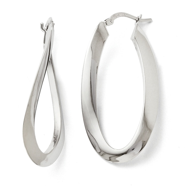 Italian 14k White Gold Polished Twisted Oval Hoop Earrings