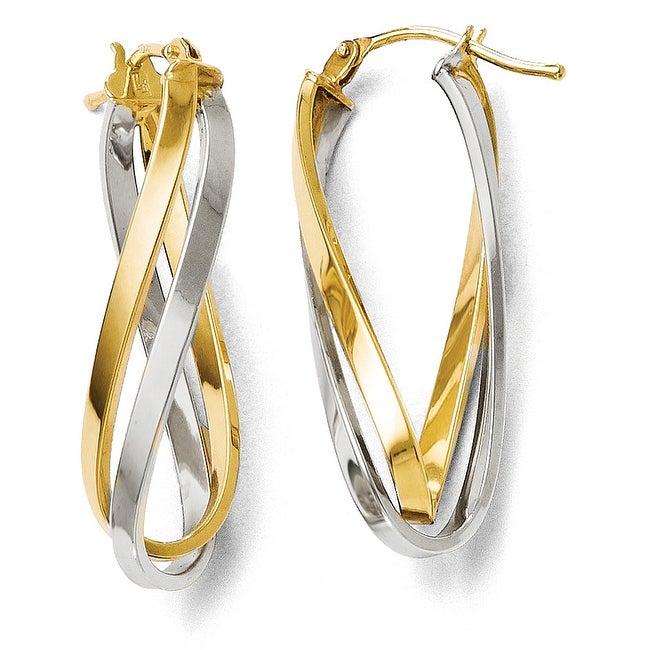 Italian 14k Two-Tone Gold Polished Hinged Hoop Earrings