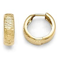 10k Gold Polished and Diamond Cut Hinged Hoop Earrings