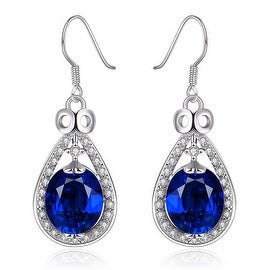 Vienna Jewelry 18K White Gold Drop Down Saphire Earrings Made with Swarovksi Elements