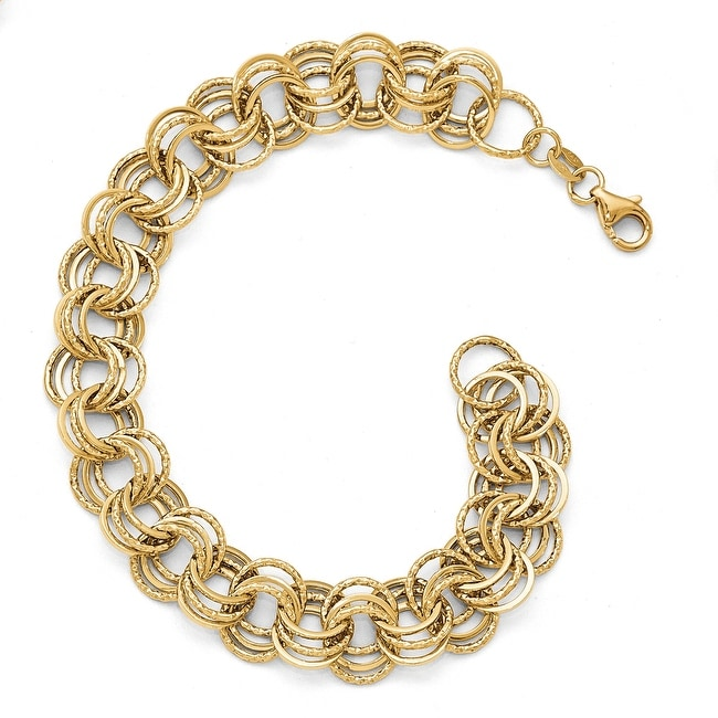 Italian 14k Gold Polished Textured Round Link Bracelet - 8 inches