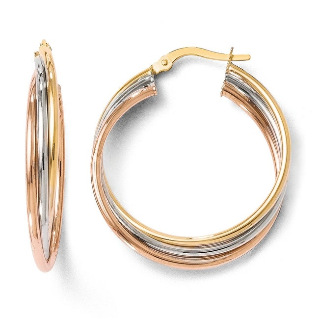 Italian 14k Tri-Color Gold Polished Twisted Hoop Earrings