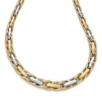 Italian 14k Two-Tone Gold Polished and Brushed Link Necklace - 17 inches