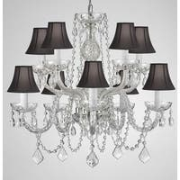 Swag Plug In Crystal Chandelier Lighting With Black Shades H25 x W24
