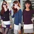 Autumn Winter Women Long Sleeve knit Bodycon Tops Slim Party Sweater Mini Dress - Thumbnail 4
