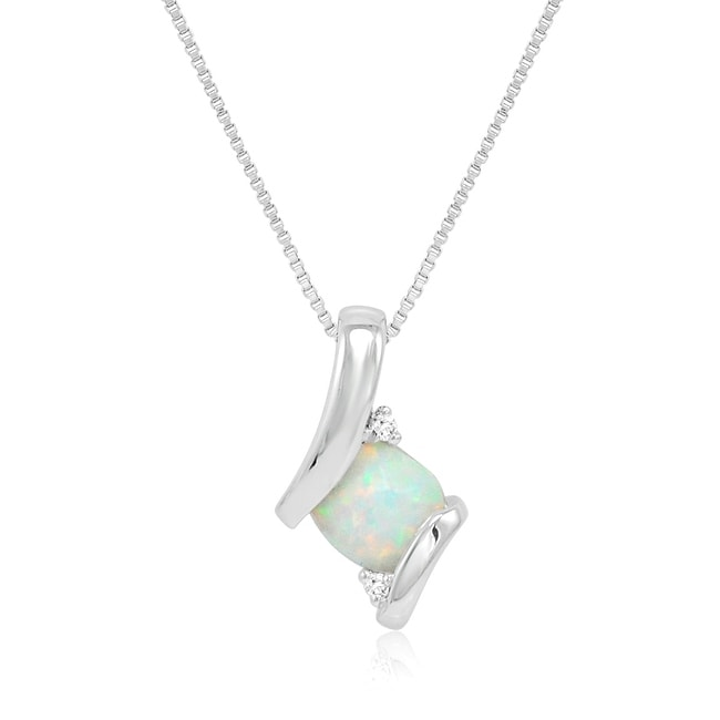 Amanda Rose Sterling Silver Created Opal and Diamond Pendant-Necklace on an 18 inch Box Chain