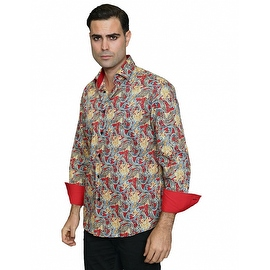IN-59 Men's Manzini Red Paisley Design Cotton Shirt with Solid Trim
