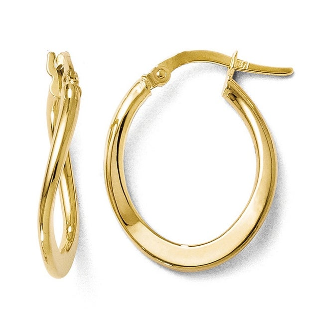 Italian 10k Gold Polished Hinged Hoop Earrings
