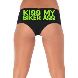Women's Sexy Hot Booty Boy Shorts Kiss My Biker Ass Block Green Bold Style Type Lingerie