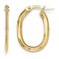 14k Gold Polished Oval Hinged Hoop Earrings