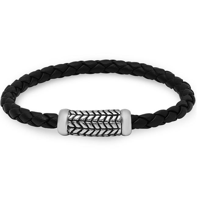 Oxford Ivy Braided Black Leather Bracelet with a Magnetic Stainless Steel Clasp ( 8 3/4 inches)