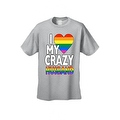 Men's T-Shirt I Love My Crazy Gay Husband LGBT HOMOSEXUAL Pride Unisex - Thumbnail 4