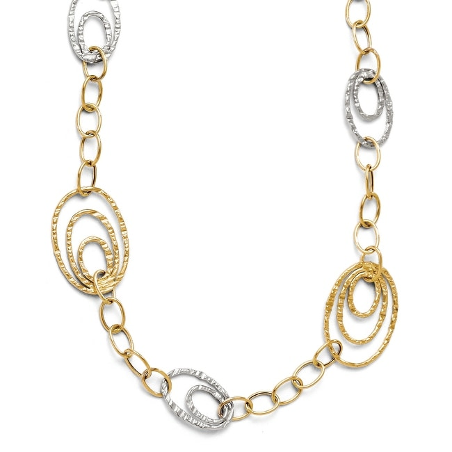 Italian 14k Two-Tone Gold Fancy Link Necklace - 17 inches