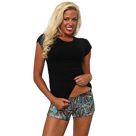 Women's Juniors Camo Hot Shorts Authentic True Timber BLUE