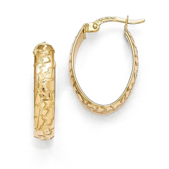 14k Gold Polished with Laser Design Oval Hoop Earrings