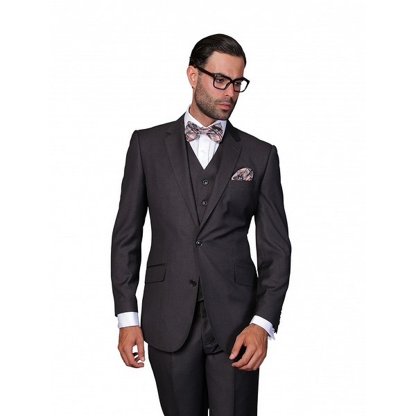 ST-100 Men's 3pc Solid CHARCOAL Suit, Modern Fit, 2 Button, 2 Side Vent, Flat Front Pants