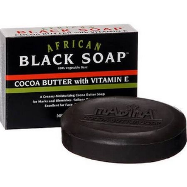 Madina 3.5-ounce African Black Soap Cocoa Butter with Vitamin E
